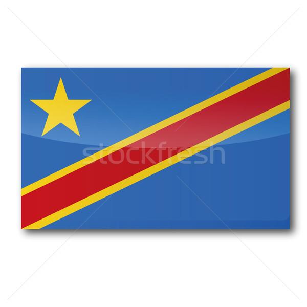 Bayrak demokratik cumhuriyet Kongo harita star Stok fotoğraf © Ustofre9