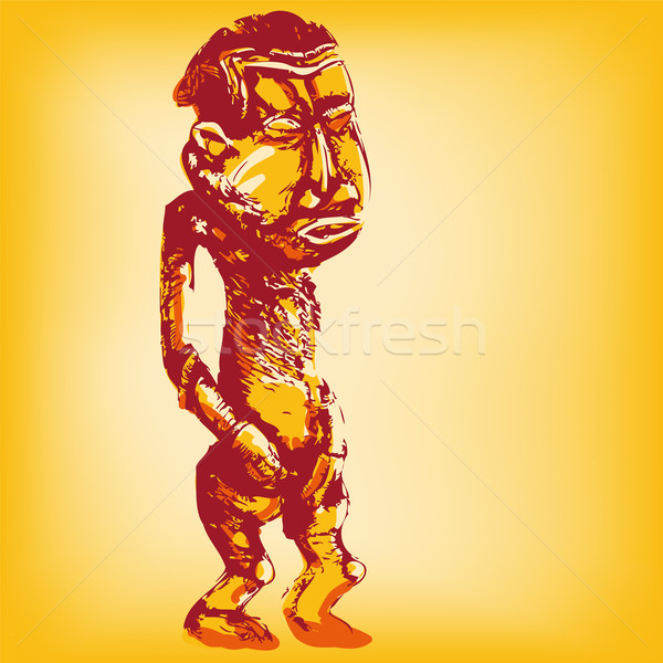 Drawing African standing wooden dummy  Stock photo © Ustofre9