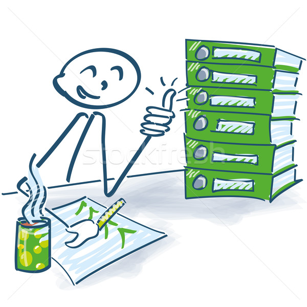 Stick figure and work is done Stock photo © Ustofre9