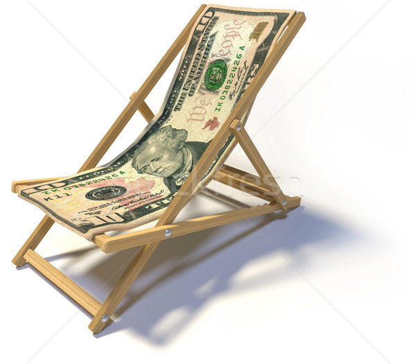 Chaise longue dix dollar note affaires argent Photo stock © Ustofre9