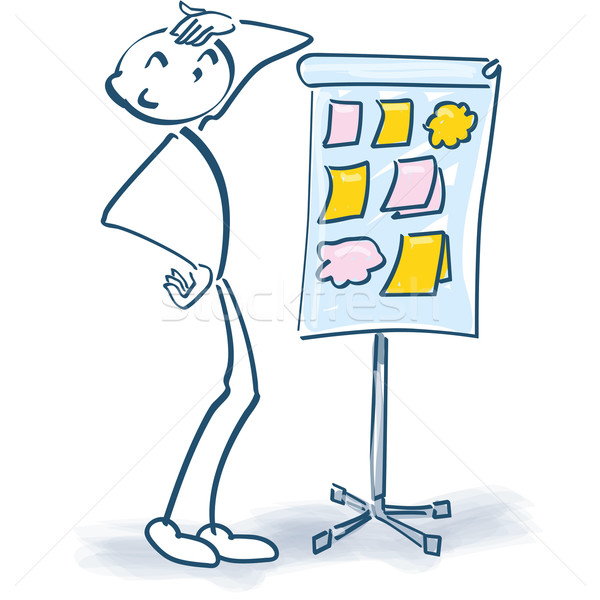 Stick figure with a flip chart and little papers and little stickers Stock photo © Ustofre9