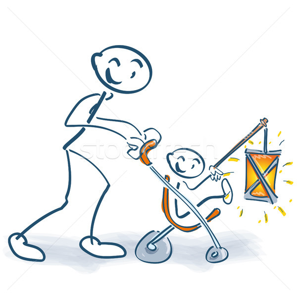 Stick figure with child buggy child and lantern Stock photo © Ustofre9