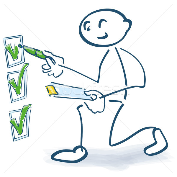 Stick figure with clipboard checks a checklist Stock photo © Ustofre9