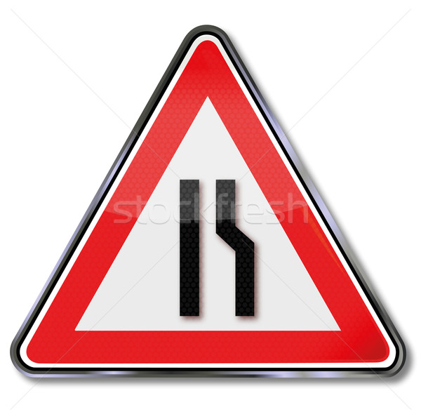 Traffic sign warning road narrowing Stock photo © Ustofre9