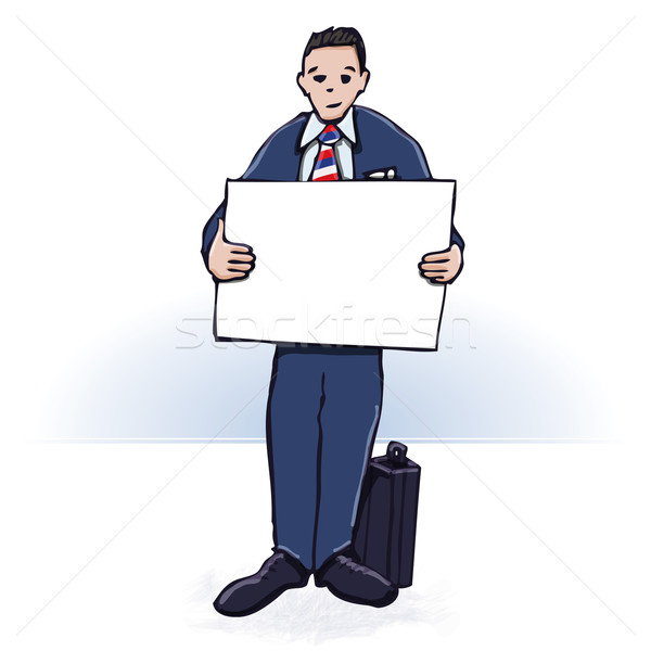 Businessman with a poster  Stock photo © Ustofre9