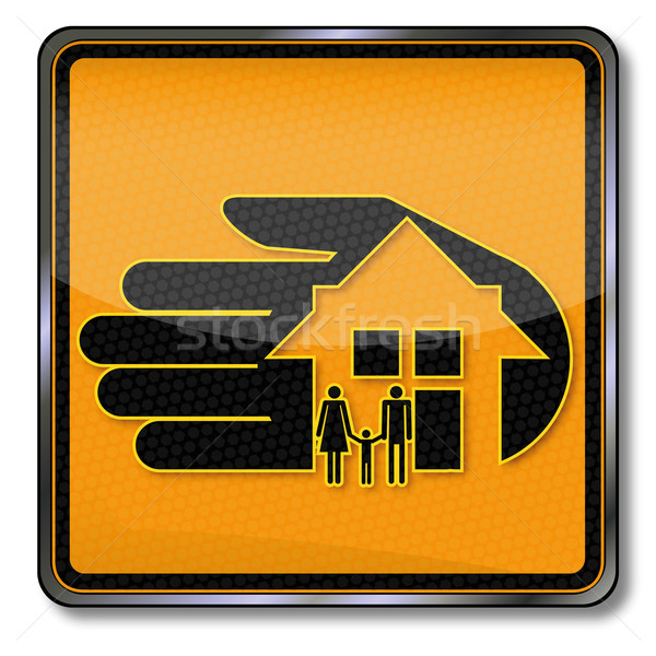 Stock photo: Sign with housing and home insurance