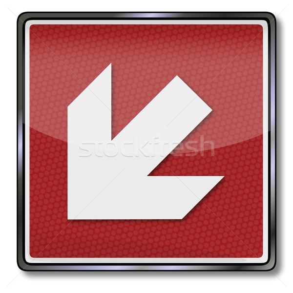 Stock photo: Fire safety signs left arrow down