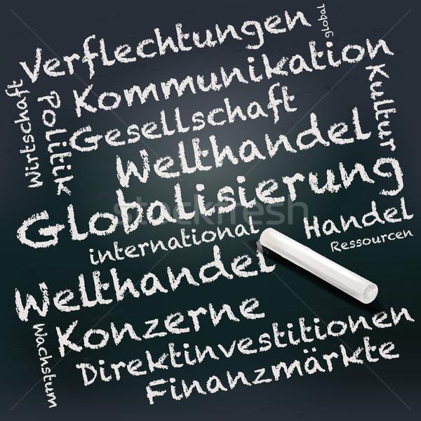 Iskolatábla kréta globalizáció textúra gyerekek iskola Stock fotó © Ustofre9