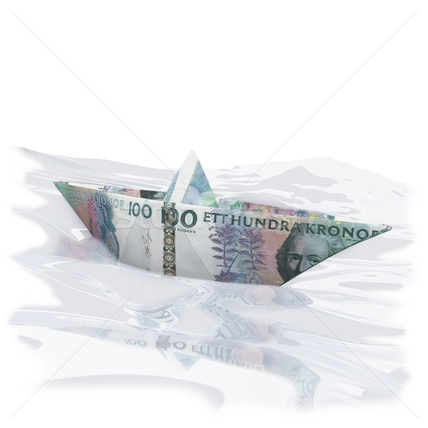 Little paper boat with 100 SEK Stock photo © Ustofre9