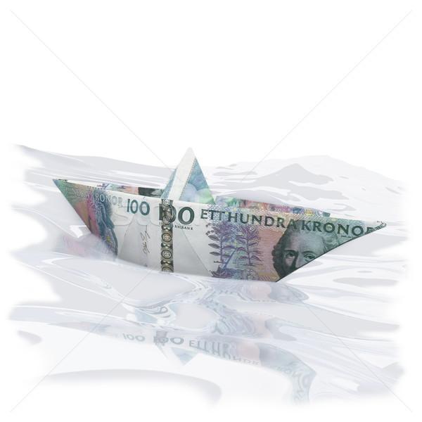 Kicsi papír csónak 100 pénz utazás Stock fotó © Ustofre9