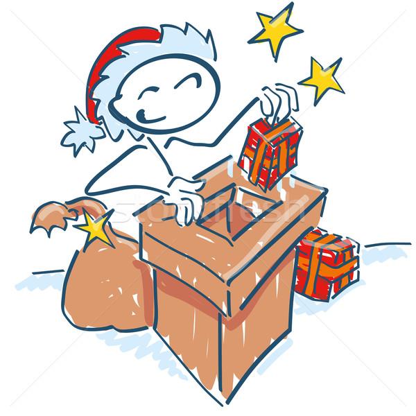 Stick figure Święty mikołaj komin dachu uśmiech christmas Zdjęcia stock © Ustofre9
