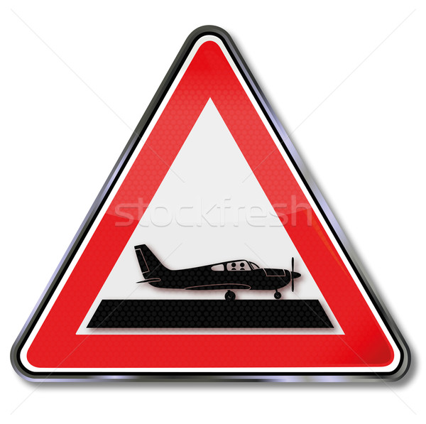 Sign with a small plane Stock photo © Ustofre9