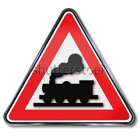 Voorzichtigheid trein mislukking winter weg sneeuw Stockfoto © Ustofre9