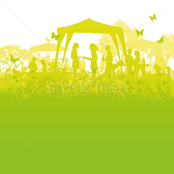 Large garden party in the garden Stock photo © Ustofre9