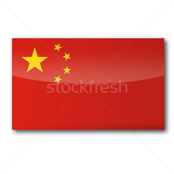 Zászló Kína térkép csillagok csillag vidék Stock fotó © Ustofre9