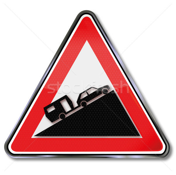 Road sign warning of heavy increase for cars with trailer Stock photo © Ustofre9
