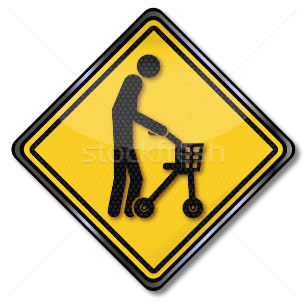 Sign old man with walker Stock photo © Ustofre9