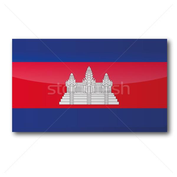 Zászló Kambodzsa térkép vidék térképek gomb Stock fotó © Ustofre9