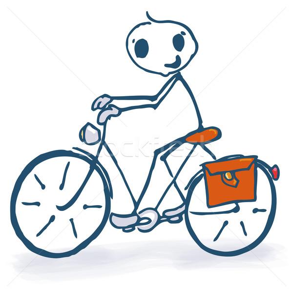 Pálcikaember bicikli üzlet mosoly természet bicikli Stock fotó © Ustofre9