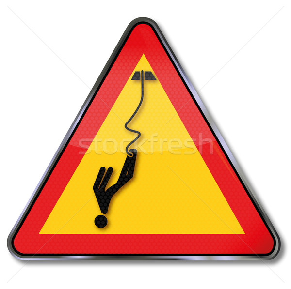Warning sign caution bungee jumping  Stock photo © Ustofre9