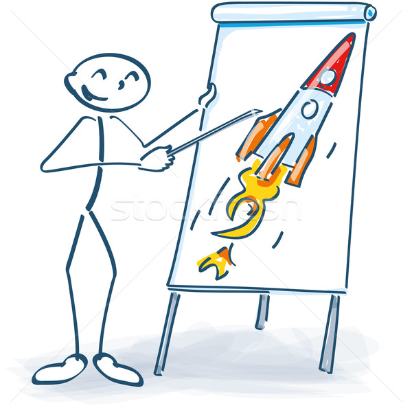 Stick figure with a flip chart and rocket Stock photo © Ustofre9