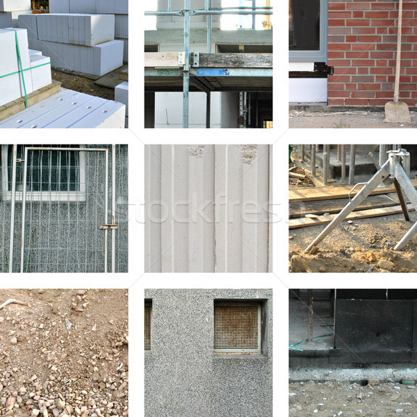Nine pictures with different building materials on the construction site Stock photo © Ustofre9