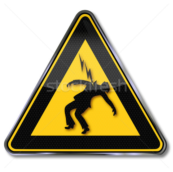 Sign beware of electric shock Stock photo © Ustofre9