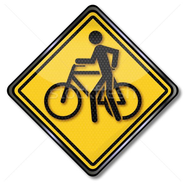 Assinar deslizar ciclismo bicicleta rua lei Foto stock © Ustofre9
