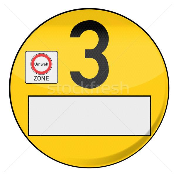 Yellow environmental badge number 3 yellow Stock photo © Ustofre9