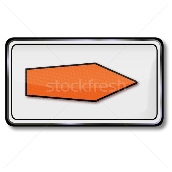 Közlekedési tábla kerülőút alternatív út narancs felirat Stock fotó © Ustofre9