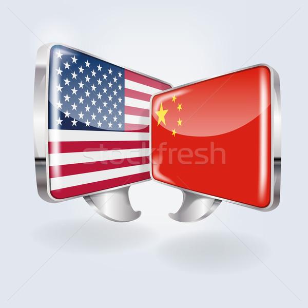 Buborékok beszéd kínai amerikai konferencia képzés Stock fotó © Ustofre9