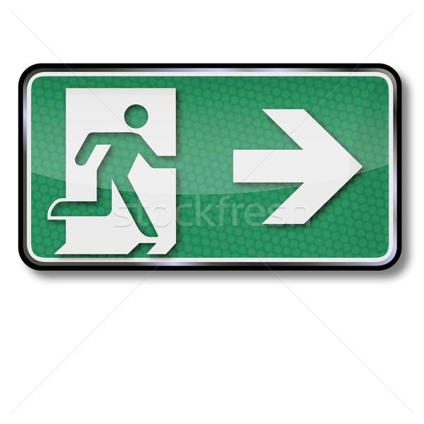 Exit sign Notfall verlassen richtig Feuer Tür Stock foto © Ustofre9