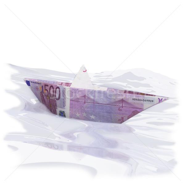 Papír csónak 500 Euro pénz utazás Stock fotó © Ustofre9