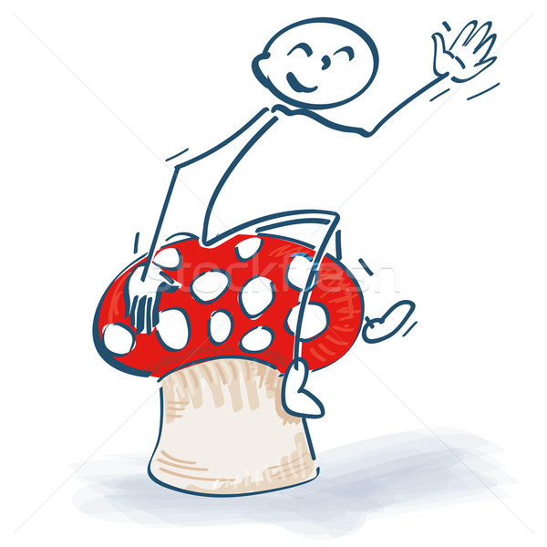 Stick figures with lucky mushroom and toadstool Stock photo © Ustofre9