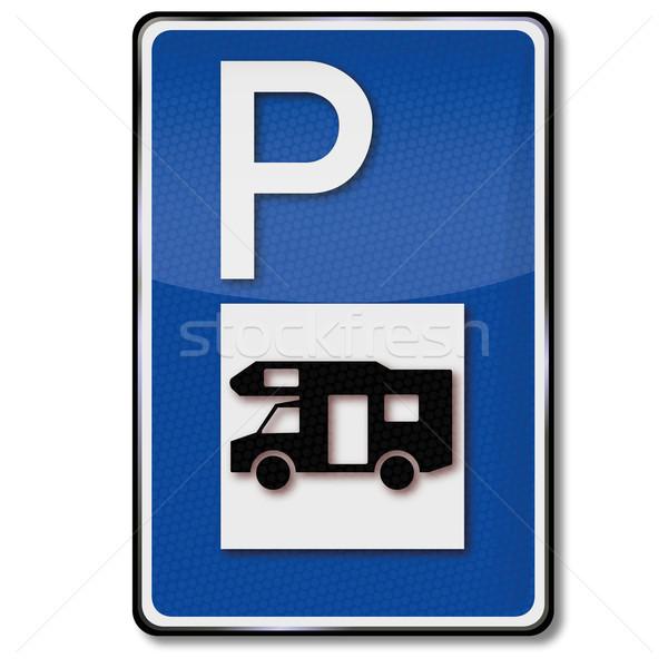 Parkolás karaván nyár felirat klub tányér Stock fotó © Ustofre9