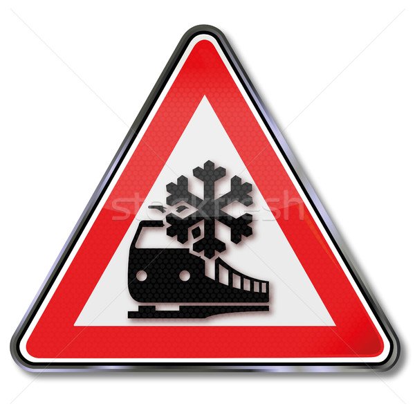 Caution train cancellation of cause of snow and ice Stock photo © Ustofre9
