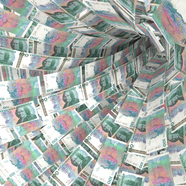Money vortex of 100 Swedish kronor bills Stock photo © Ustofre9