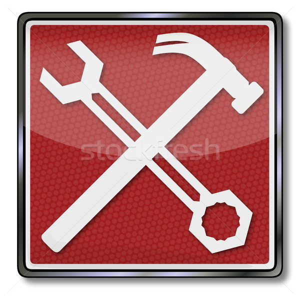 Sign with wrench and hammer Stock photo © Ustofre9