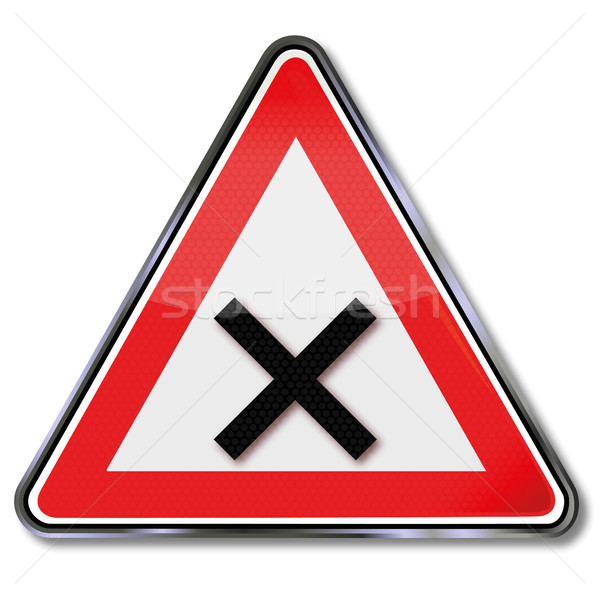 Traffic sign caution intersection Stock photo © Ustofre9