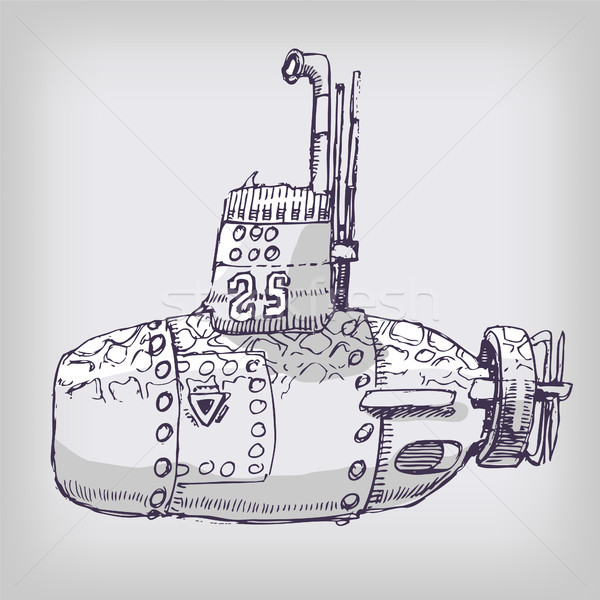 мало подводная лодка морем карандашом искусства знак Сток-фото © Ustofre9