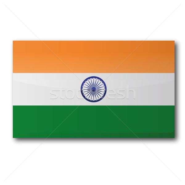 Foto stock: Índia · mapa · caixa · país · botão · bandeiras