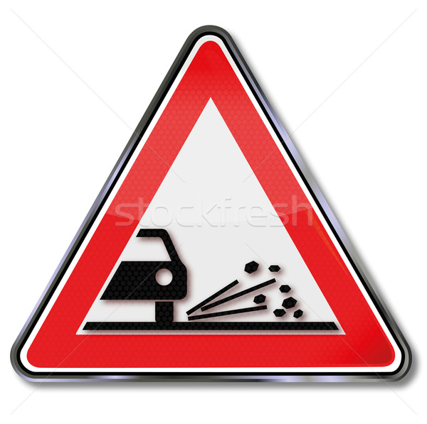 Traffic sign beware of stones and gravel Stock photo © Ustofre9