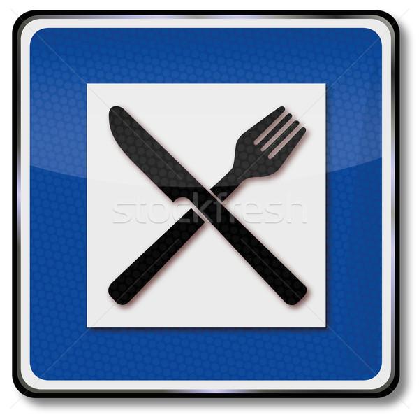 Signo tráfico lugar alimentos signo cuchillo Foto stock © Ustofre9