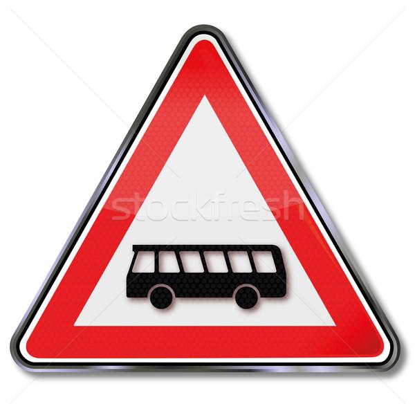 Panneau de signalisation avertissement bus route signe Voyage Photo stock © Ustofre9