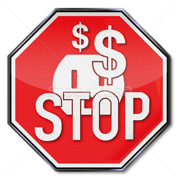 Stop sign, dollars, power, save electricity and energy policy Stock photo © Ustofre9