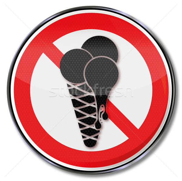 Prohibition sign for ice and eating ice cream in the salesroom Stock photo © Ustofre9
