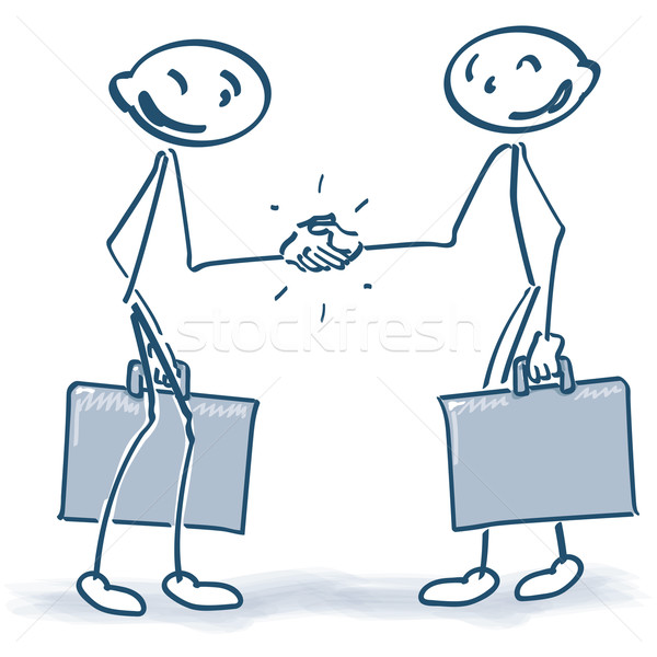 Stick Figures with suitcases when shaking hands Stock photo © Ustofre9