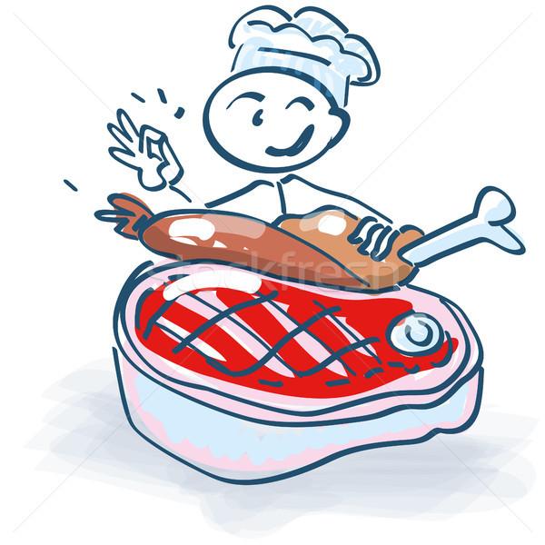 Pálcikaember szakács hús buli egészség konyha Stock fotó © Ustofre9