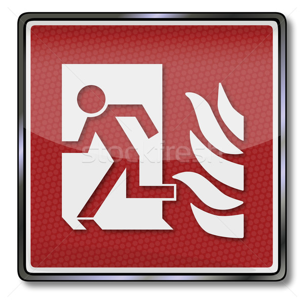 Fire safety sign man escapes through a door and fire door Stock photo © Ustofre9