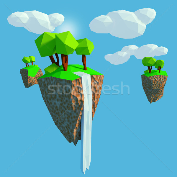 Stock photo: Low poly with flying islands